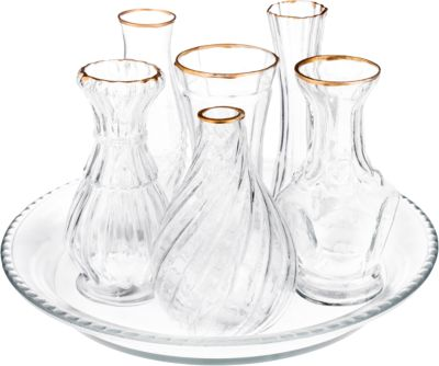 null Glas Vasen Set ´´Toledo´´ 7-teilig farblos
