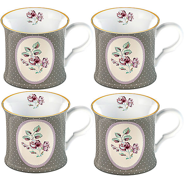 "Fine Bone China Kaffeetassen  ""Disty Oval"" 4-er Set im Geschenkkarton"