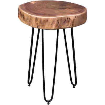 akazien beistelltisch w rfel s massivholz beige yomonda. Black Bedroom Furniture Sets. Home Design Ideas
