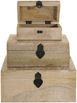 3-tlg. Holz Kisten-Set braun