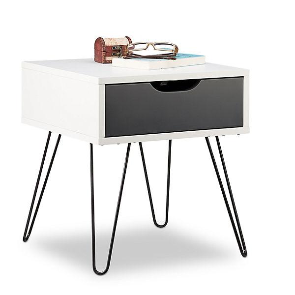 Nachttisch Mit Schublade Weiss Relaxdays Yomonda