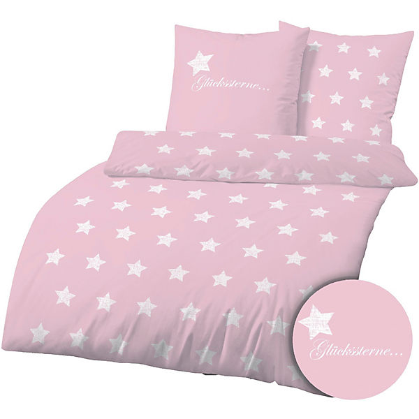 kinderbettw sche gl ckssterne biber 135x200 80x80 cm rosa yomonda. Black Bedroom Furniture Sets. Home Design Ideas