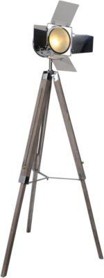 Näve Dreibein-Stehleuchte H100-140cm braun/silber