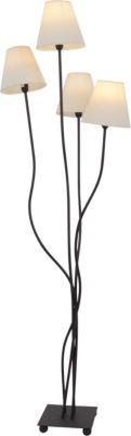 Näve Stehleuchte 4-flamig, je Schirm  Ø15cm  H138cm beige/schwarz