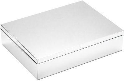 Versilberte Schmuck-Kiste mit Samt 15x20 cm