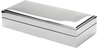 Versilberte Schmuck-Kiste mit Samt 9x20 cm
