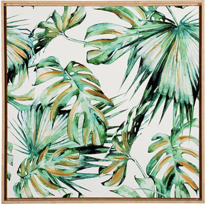 Wand-Bild ´´Palmen´´ mit Holzrahmen 79x79 cm grün