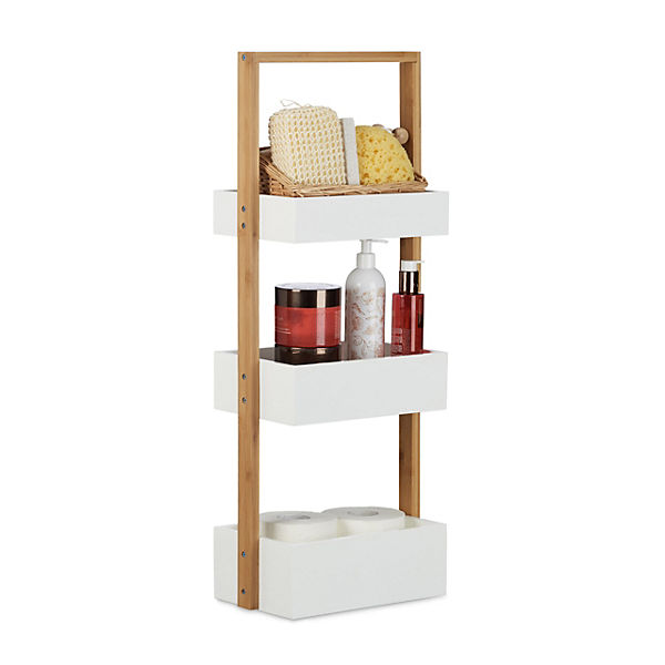 bambus badregal mit 3 k rben wei yomonda. Black Bedroom Furniture Sets. Home Design Ideas