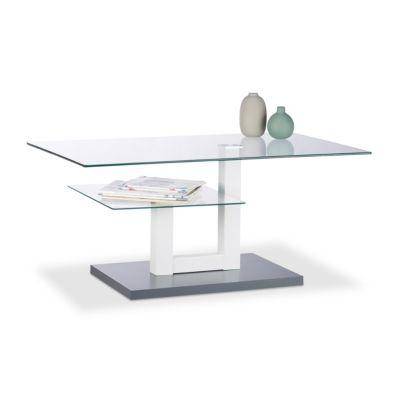 relaxdays Couchtisch Glas mit Ablage grau