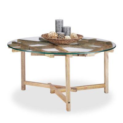 Couchtisch mit Glasplatte 45 x 90 cm natur