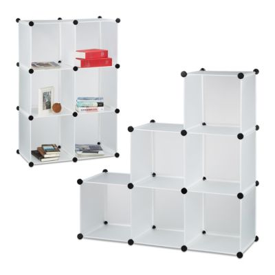 relaxdays 2er-Set Steck-Regal-System mit 6 Fächern weiß | Büro > Büroregale > Regalsysteme | relaxdays