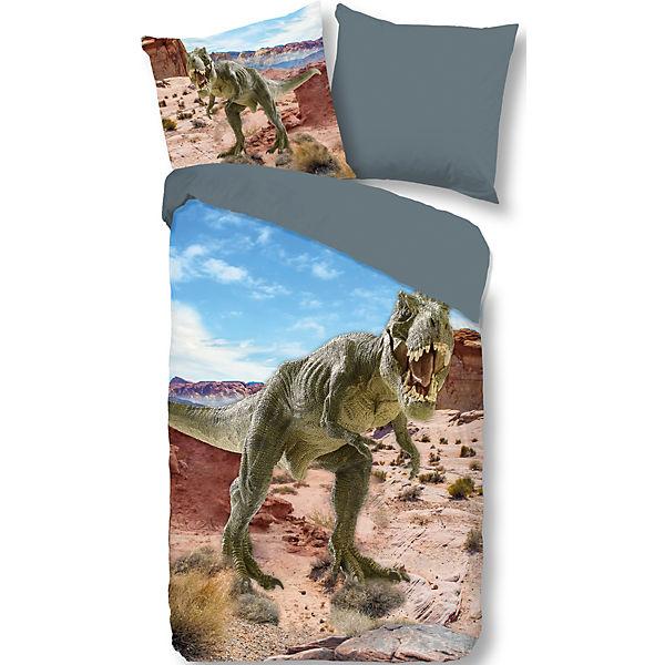 Wende Kinderbettwäsche Dinosaurier 135 X 200 Cm Mehrfarbig Yomonda