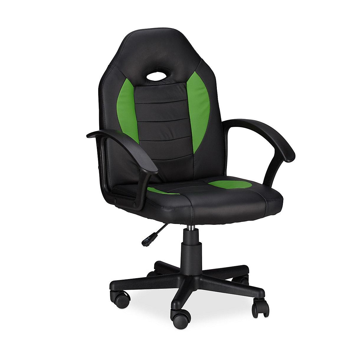 Gaming Stuhl XR7 aus Kunstleder, grün, relaxdays | yomonda
