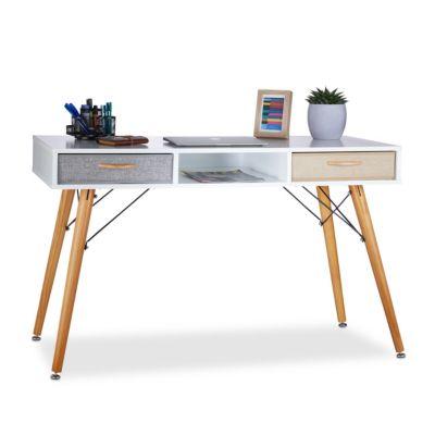 relaxdays Schreibtisch mit 2 Stoff-Schubladen weiß
