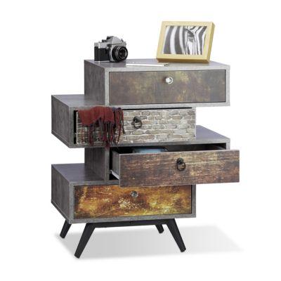 relaxdays Vintage Kommode mit 4 Schubladen grau