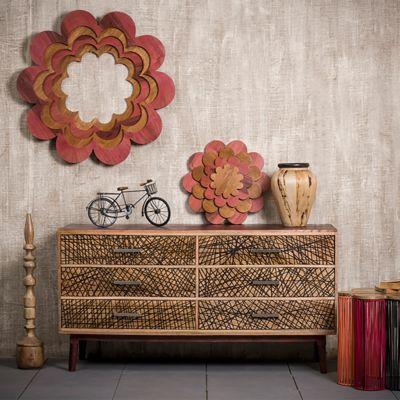 relaxdays Sideboard Raina mit 6 Schubladen natur