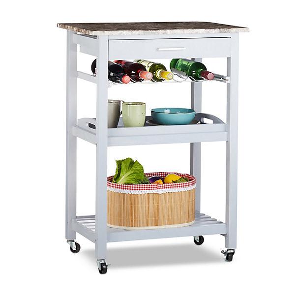Holz Küchenwagen mit 3 Ablagen und 1 Schublade, grau,