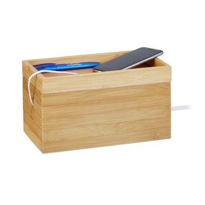 relaxdays Bambus Kabelbox 14 x 25,5 x 14 cm natur | Baumarkt > Elektroinstallation > Weitere-Kabel | relaxdays