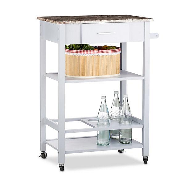 Holz Küchenwagen mit Flaschenhalter und Schublade, grau,