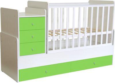 Polini-kids Kombi-Kinderbett Simple 1100 mit Kommode, weiß - grün, 1227.6 grün/weiß