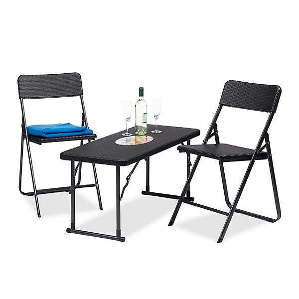 3 Tlg Gartenmöbel Set Klappbar Schwarz Yomonda