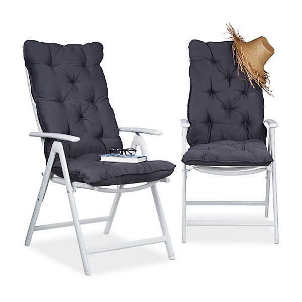 2er auflagen set f r hochlehner gartenstuhl grau yomonda. Black Bedroom Furniture Sets. Home Design Ideas
