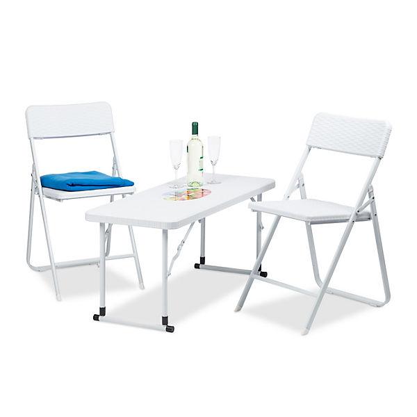 3 Tlg Gartenmöbel Set Klappbar Weiß Yomonda