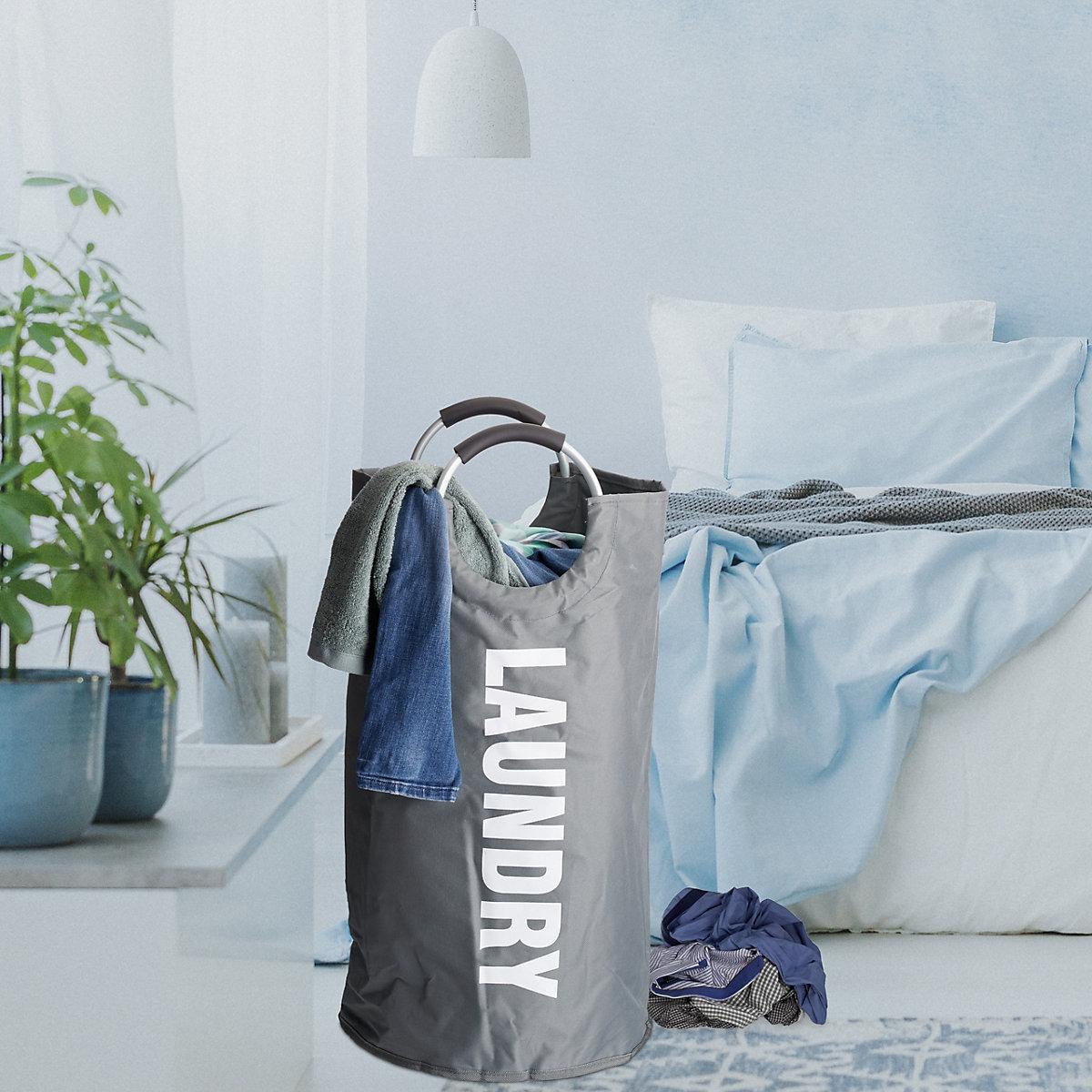 faltbarer w schekorb mit henkel grau yomonda. Black Bedroom Furniture Sets. Home Design Ideas