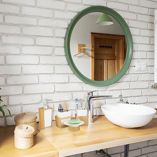 4-tlg. Bad-Accessoire Set Bambus & Keramik, beige   yomonda