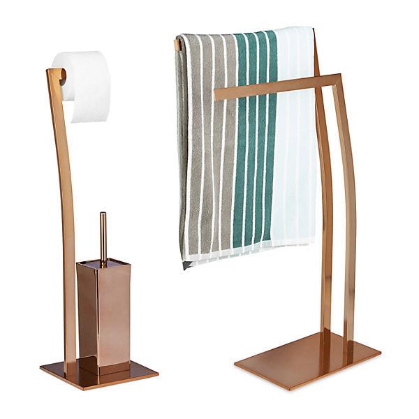 2 tlg. Badezimmer Set mit Handtuchhalter & WC-Garnitur, bronze, relaxdays