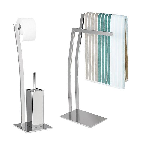 2 tlg. Badezimmer Set mit Handtuchhalter & WC-Garnitur, silber,