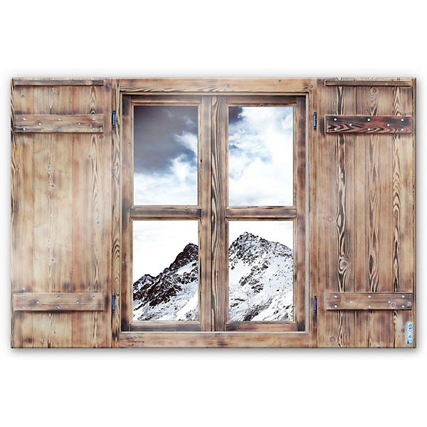 "3D Glasbild Holzfenster ""Snow Mountain"" 70 x 100 cm"