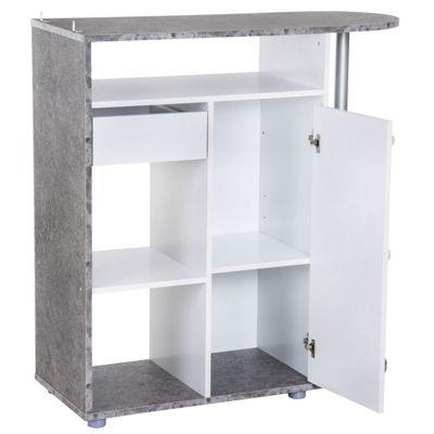 HOMCOM Küchenschrank mit 6 Ablagen 100 x 39,5 x 104 cm (LxBxH) weiß/grau