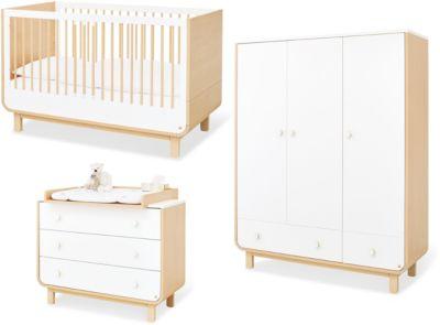 Pinolino Komplett Kinderzimmer ROUND, 3-tlg. (Kinderbett, breite Wickelkommode und 3-türiger Kleiderschrank), Ahorn, weiß