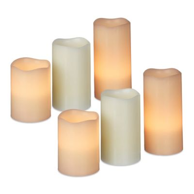 relaxdays 6er Set LED Kerzen Weihnachtskerzen flammenlos flackernd Echtwachs Elektrokerzen creme | Lampen > Leuchtmittel > Led | relaxdays