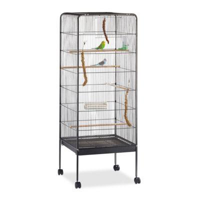 Vogelvoliere mit Rollen H146 x B54 x T54 cm anthrazit | Garten > Tiermöbel > Vogelkäfige-Volieren | Anthrazit | Holz | yomonda
