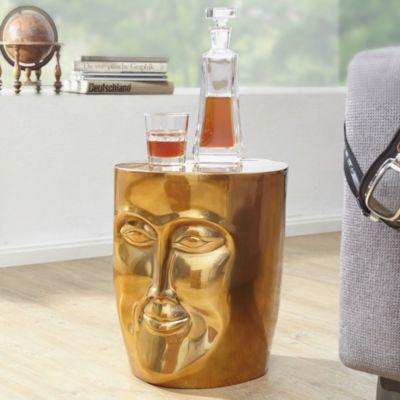 WOHNLING Beistelltisch FACE Ø 35 cm Aluminium Couchtisch Sofatisch mit Gesicht aus Metall gold