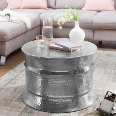 WOHNLING Couchtisch KARAM 62x41x62cm Aluminium Beistelltisch Orient Hammerschlag Sofatisch Wohnzimmertisch kupfer