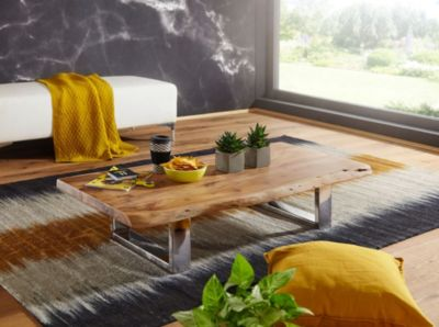 WOHNLING Couchtisch ASURA 115x25x58 cm Akazie mit Metallgestell Wohnzimmertisch Massivholz Baumkante braun/silber