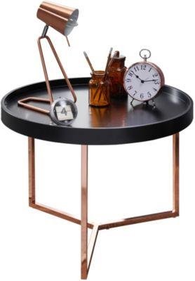 WOHNLING Couchtisch EVA Ø 58,5 cm Sofatisch Metall Rund Wohnzimmertisch modern Kleiner Loungetisch schwarz