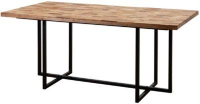 WOHNLING Esstisch Massivholz in 2 verschiedenen Größen Esszimmertisch Akazie Mango Holztisch Speisetisch braun/schwarz