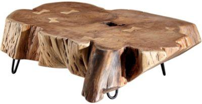 WOHNLING Couchtisch NAKUR 104x30x69 cm Akazie Vollholz Wohnzimmertisch Baumscheibe Sofatisch Echtholztisch braun