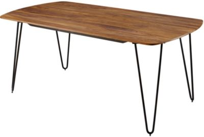 WOHNLING Esszimmertisch KELA in 3 verschiedenen Größen Sheesham Massivholz Esstisch Metallbeine Tisch Holz braun/schwarz