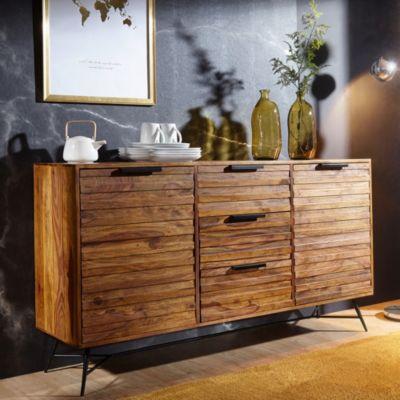 WOHNLING Sheesham Massivholz Sideboard, H88 x B160 x T40 cm braun