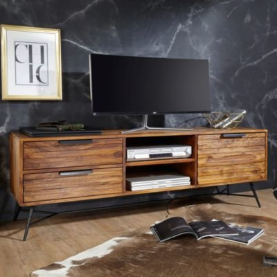 WOHNLING Sheesham Massivholz TV-Lowboard, H54 x B160 x T40 cm braun