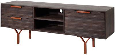 Akazien Massivholz TV-Lowboard,H58 x B160 x T40 cm grau/braun