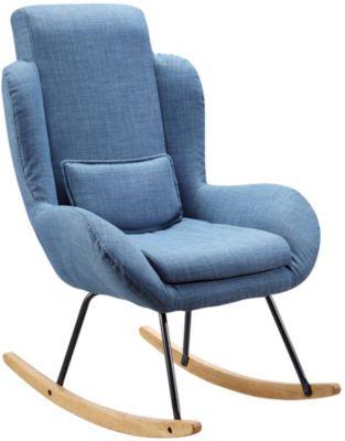 WOHNLING Schaukelstuhl ROCKY Relaxsessel Polster Sessel Relaxstuhl Schaukelsessel Moderner Schwingstuhl blau