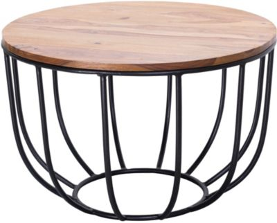 WOHNLING Couchtisch WL5.677 60x39x60 cm Sheesham Massivholz Korbtisch Sofatisch Holztisch Kaffeetisch braun/schwarz