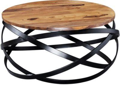 WOHNLING Couchtisch MANUR 60x30x60 cm Sheesham Massivholz Wohnzimmertisch Stubentisch Holztisch Kaffeetisch braun/schwarz