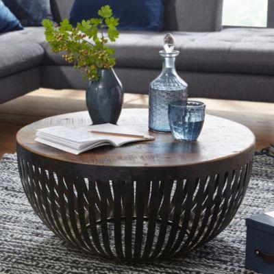 WOHNLING Couchtisch NISHA 70x33x70 cm Holz Metall Wohnzimmertisch Industrial Sofatisch Metallgestell Lounge braun/schwarz